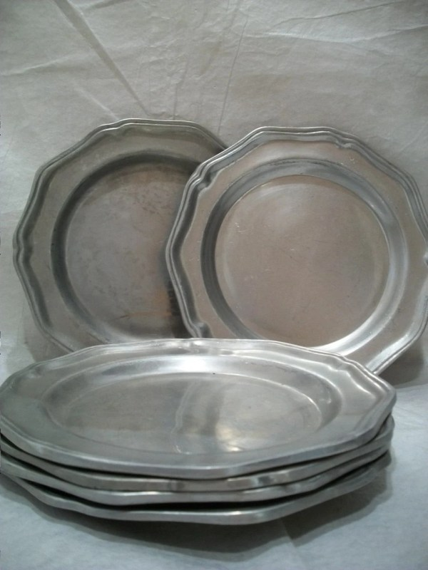 Vintage Wilton Columbia Pewter Plate Set Of 6 Heavy