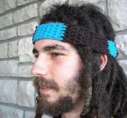 blue hippie headband mens organic
