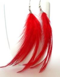 Feather earrings. Red feather earrings. by JuliaJewellery ...