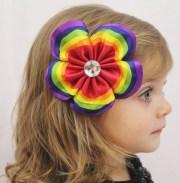 layered rainbow flower hair bow