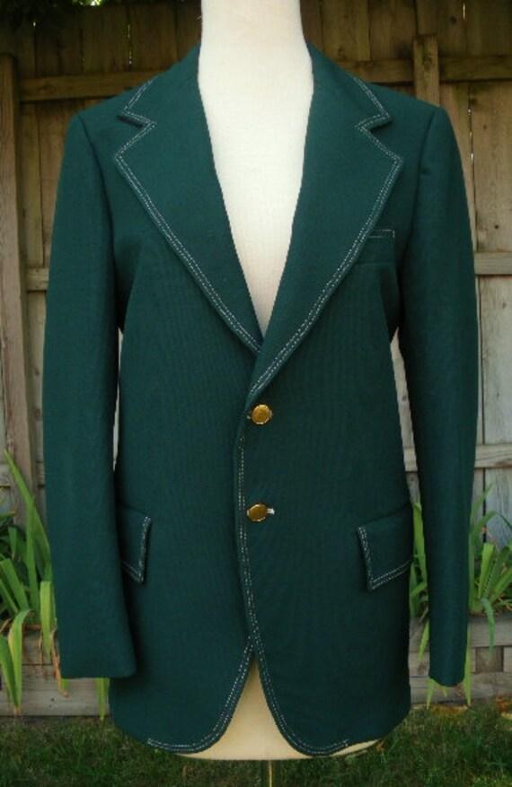 vintage 70s mens dark green leisure suit jacket s elderado