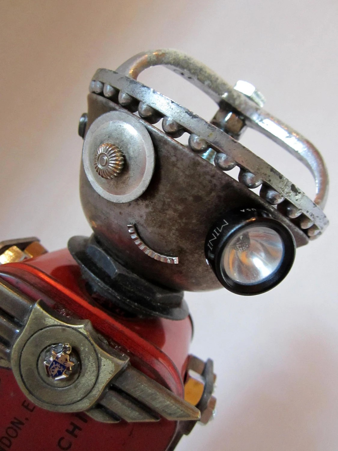 Reserved listing for Naomi Wissot Russian Bot & Lucky Dog - found object robot sculpture assemblage - ckudja