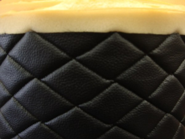 Vinyl Leather Faux Black Quilted Auto Headliner