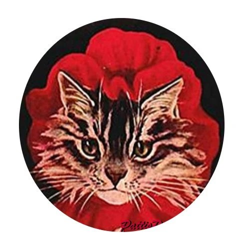 1 1/2 Fabric Cat Button - Little Red Riding Hood Kitten Red Bonnet on Black Ready to Ship - CatFabricsandButtons