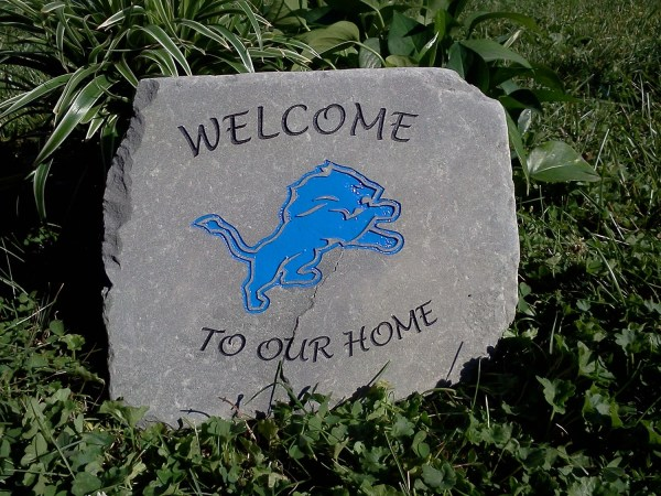 Home Engraved Stone With Sports Team Logo
