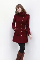 Wine Red Coat Fitted Military Style Wool Winter Coat Women Coat Long Jacket - NC240