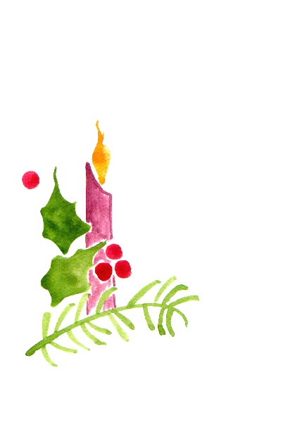 Items Similar To Handpainted Greeting Card Candle Holly