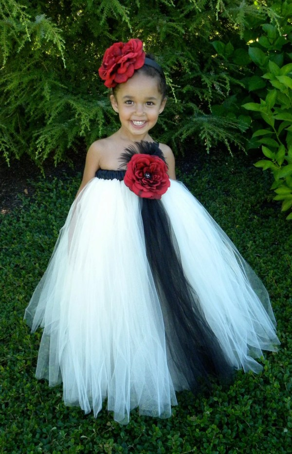 Flower Girl Tutu Dress Ivory & Black Cutiepatootiedesignz