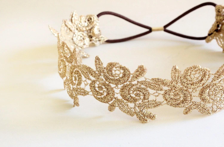 Metallic Gold Flower Lace Elastic Headband Gold Elastic