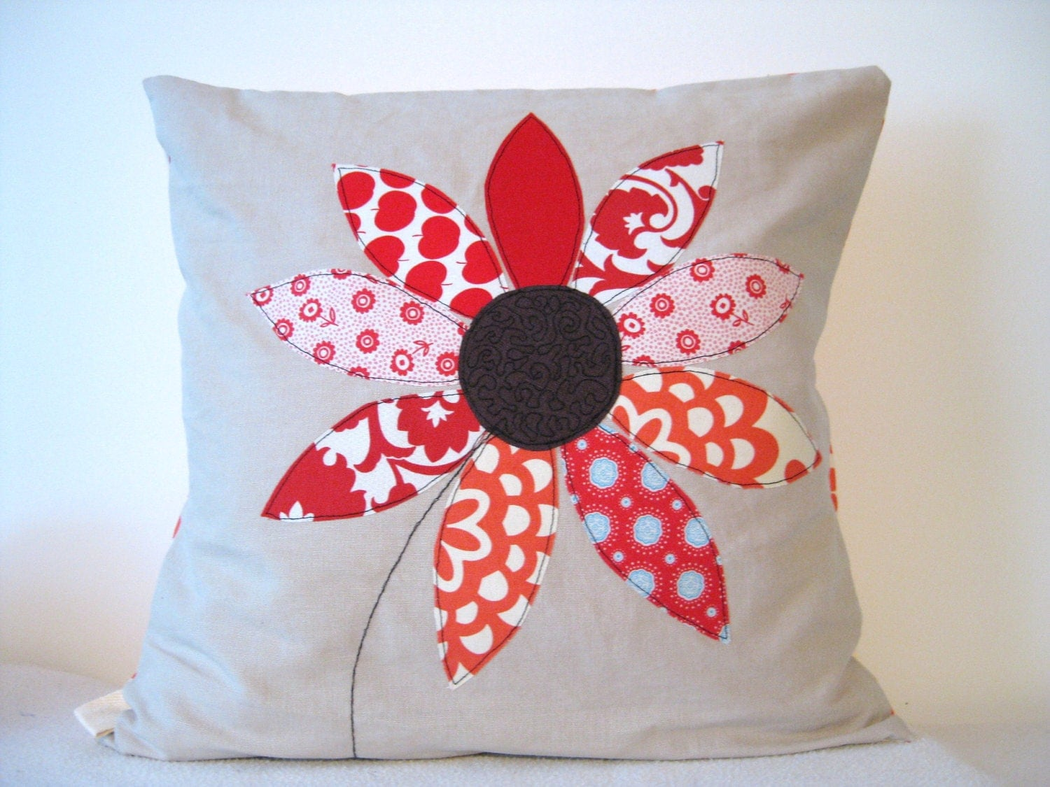 Red flower cushion cover free motion applique summer flower