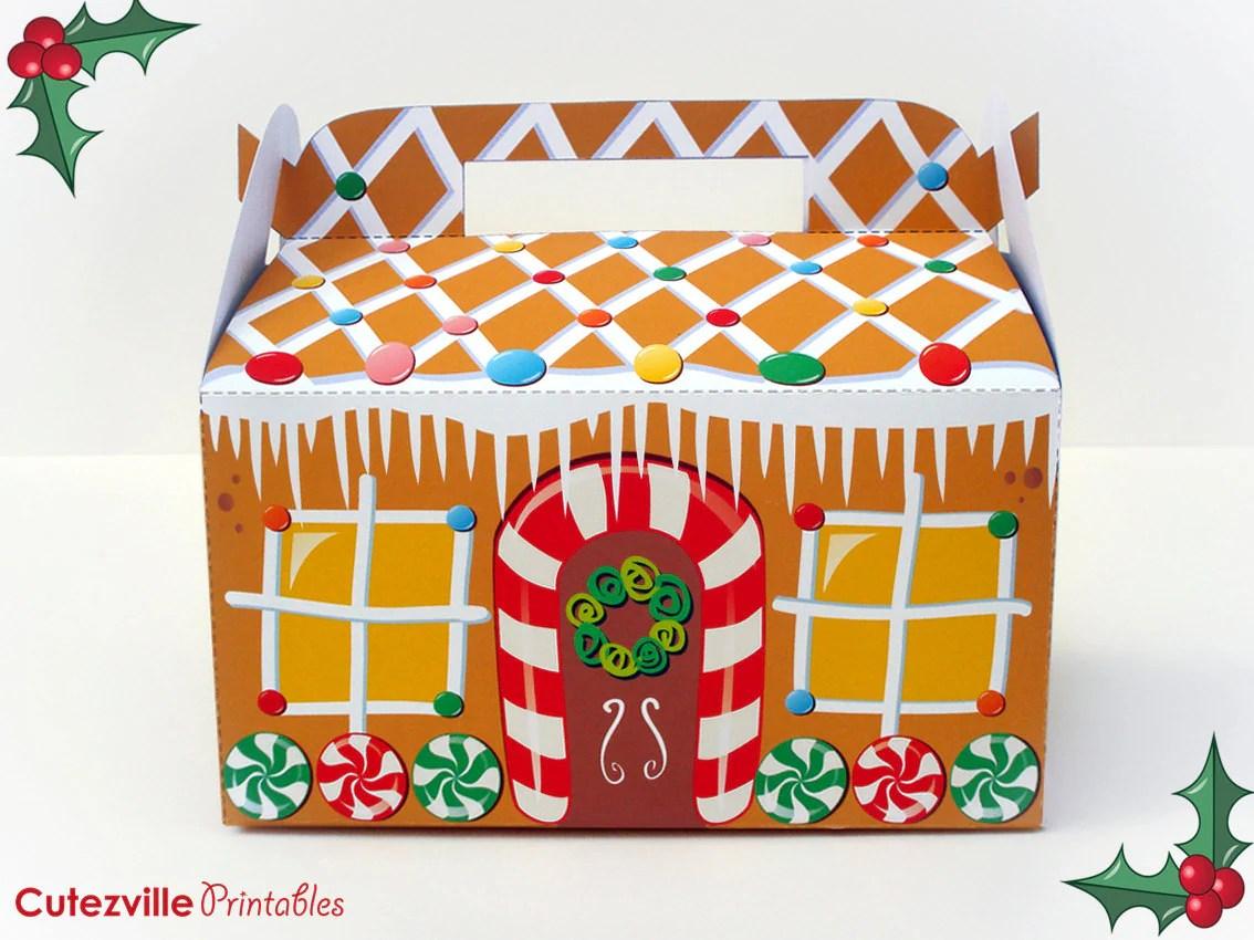Printable PDF Christmas Gingerbread House Cupcake Favor