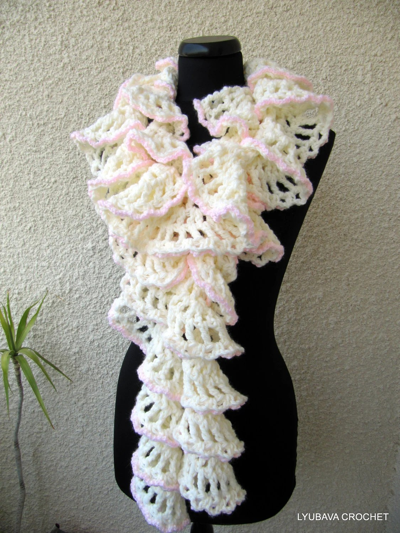Crochet Scarf PATTERN Ruffle Scarf Pattern Chunky Scarf