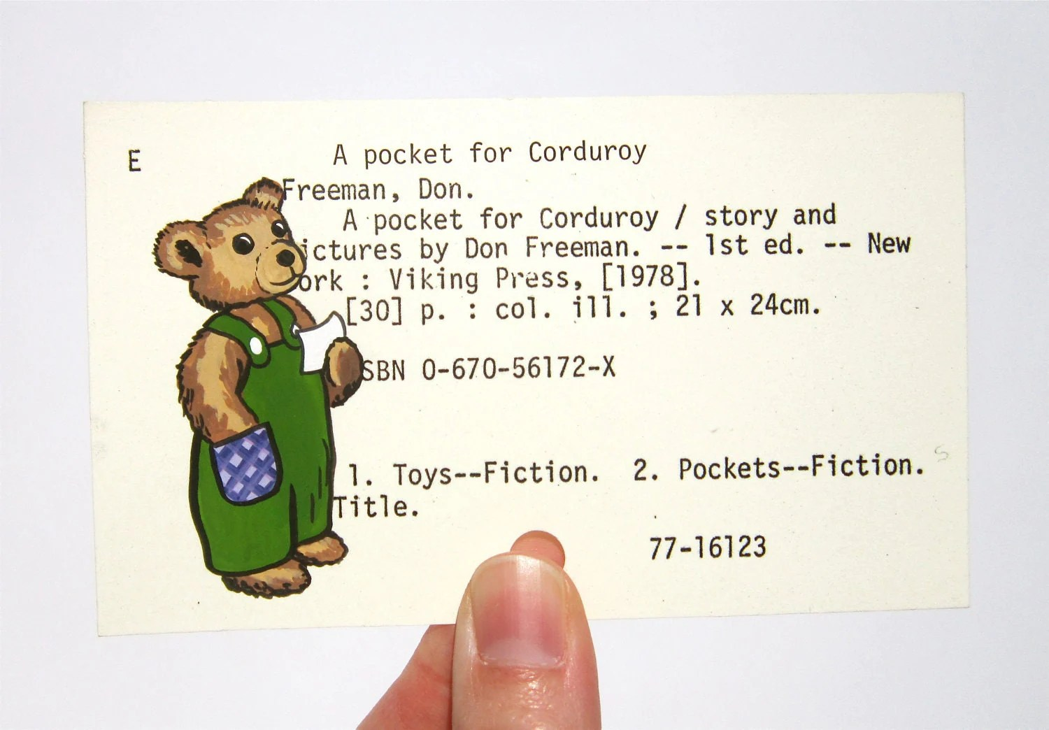 Corduroy Bear On Library Card Print Of Painting Of Bear On