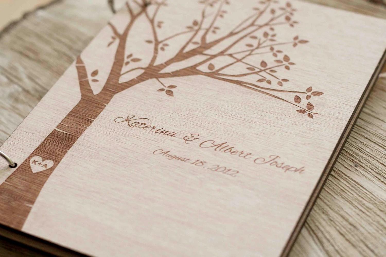 Wood Wedding Guest Book Wedding Guestbook Modern Custom
