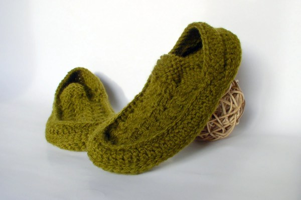 Men' Knit Crochet Socks Slippers With Cables Motifs Hand