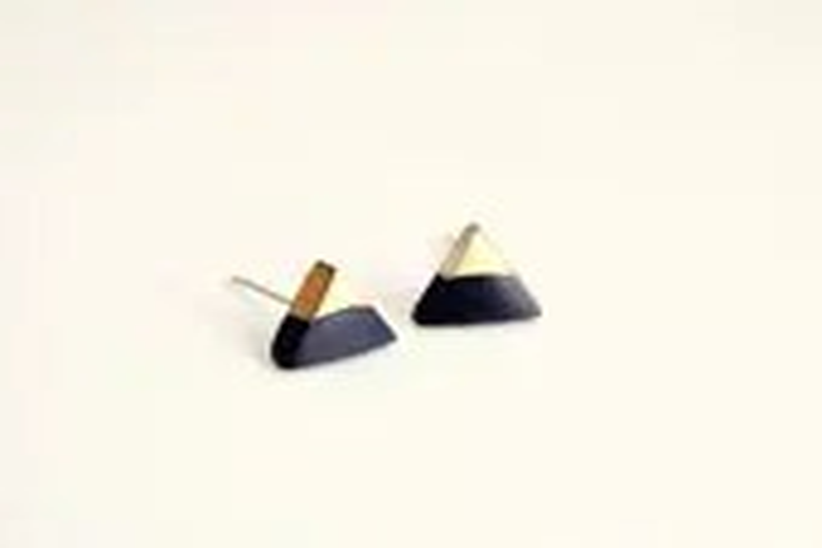 gold dipped triangle studs - black and gold - minimalist geometric earrings - PetiteCo