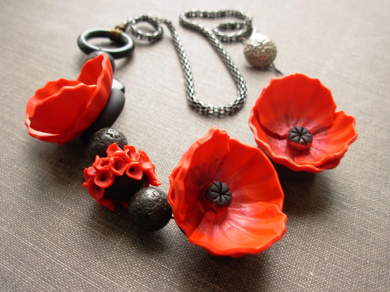 Poppy polymer clay necklace