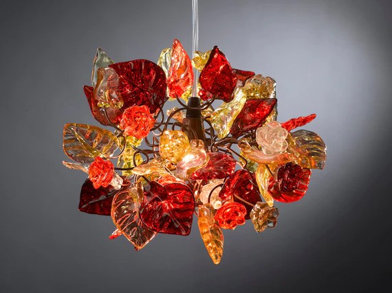 Ceiling Light Fixture Red Flowers Light With Warm Shades Of