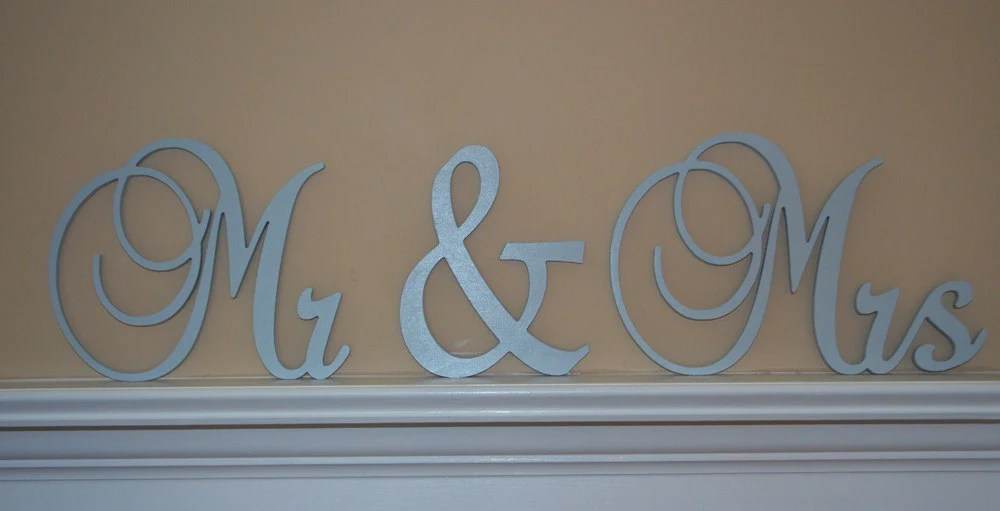 Mr & Mrs Sign Connected Letters Wedding By