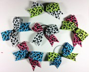 animal print hair bows neon cheetah