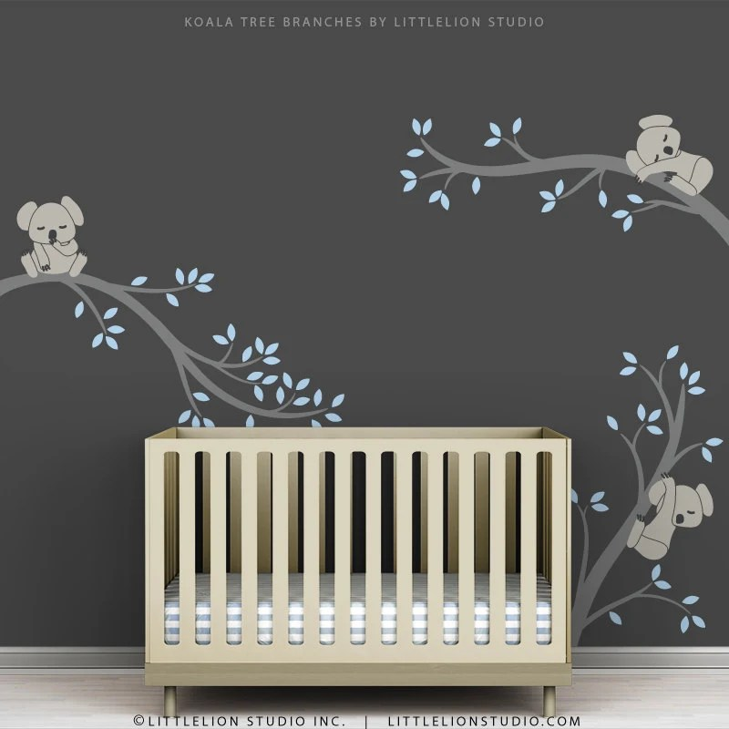 Blue Baby Boy Wall Decal Baby Nursery Tree Wall Sticker Decor