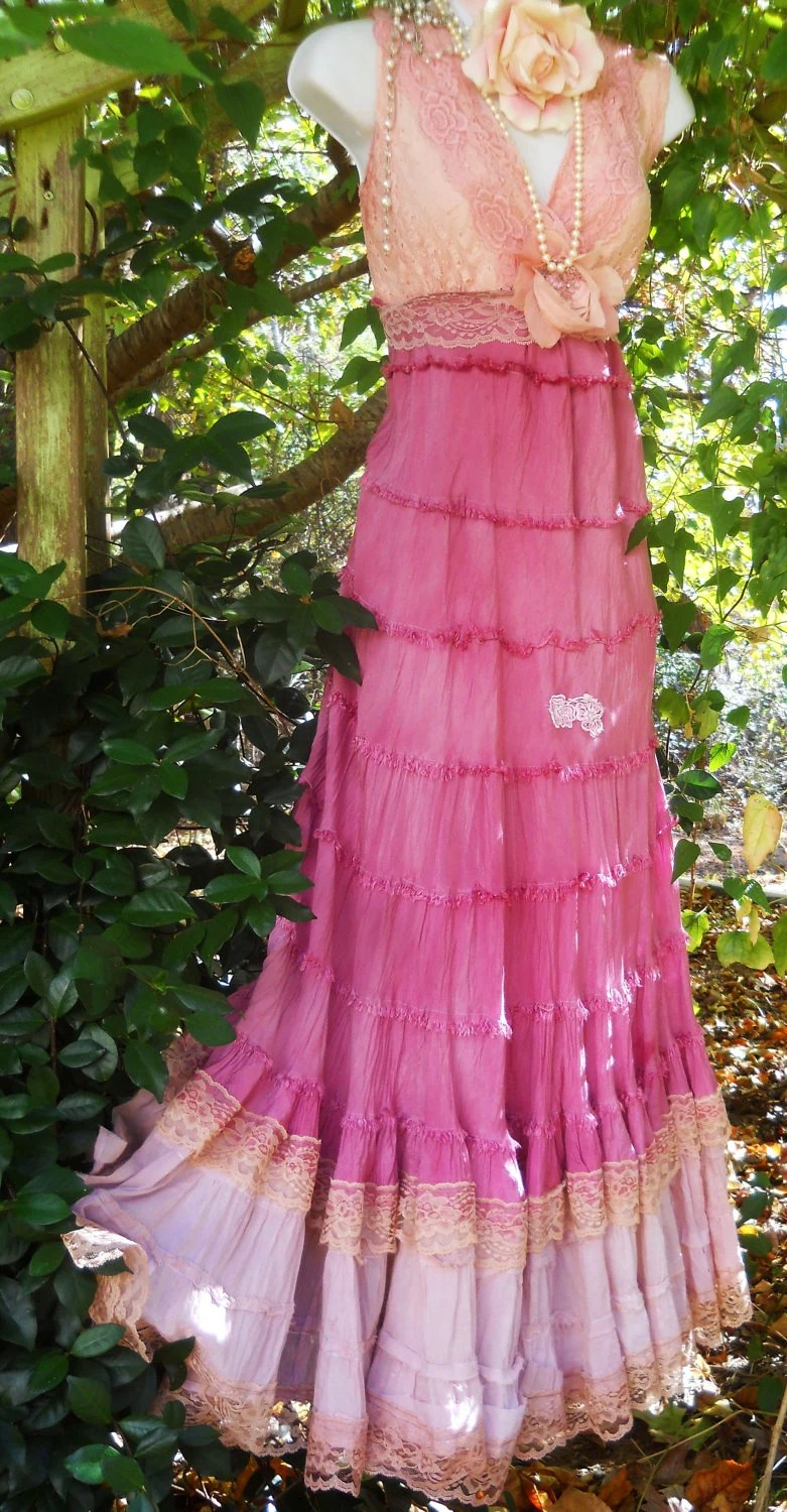 Pink maxi dresstea stained boho gypsy tiered cotton belly
