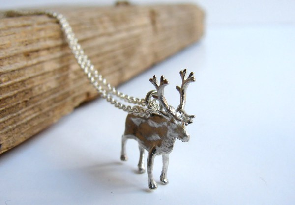 Moose Reindeer Necklace Pendant Sterling Silver Christmas