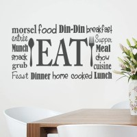 Kitchen Wall Decal Eat Sign Vinyl Lettering Fork and