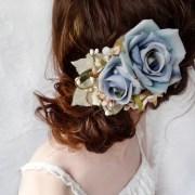 blue flower accessory rustic wedding