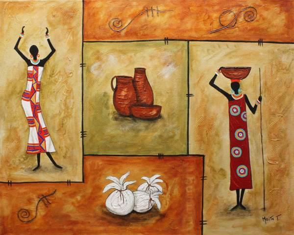 Art Handmade African Painting Folk Latin American