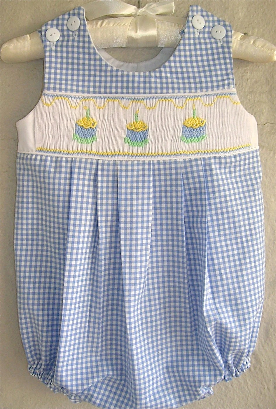 Boys Smocked Birthday Cake Long Overall Blue By GumdropGrove