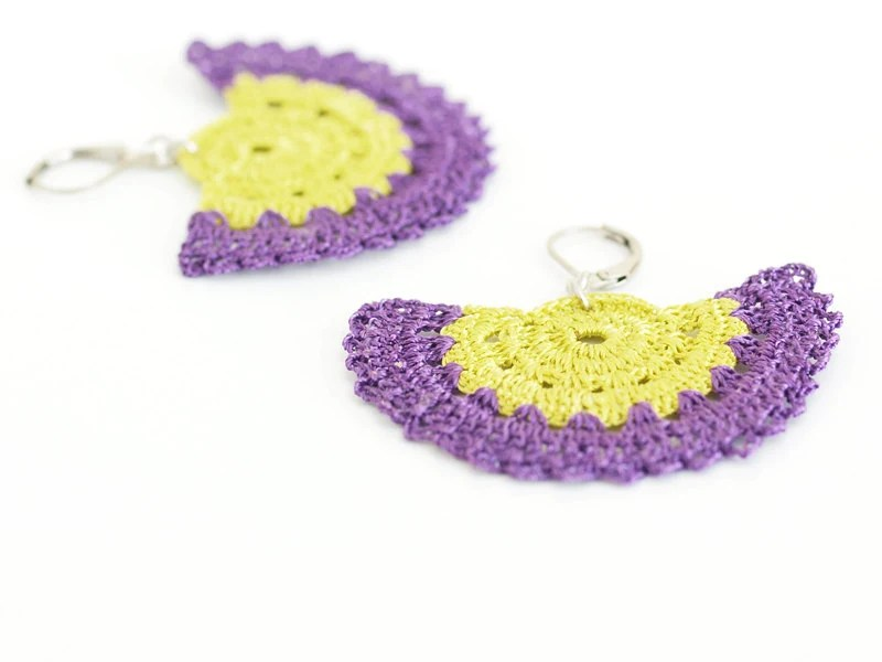 Crochet Lace Earrings in Neon Yellow, Purple Lime Boho Chic Lightweight Strip Semicircle Geometric Doily Hittites Goddess Ancient History - PinaraDesign