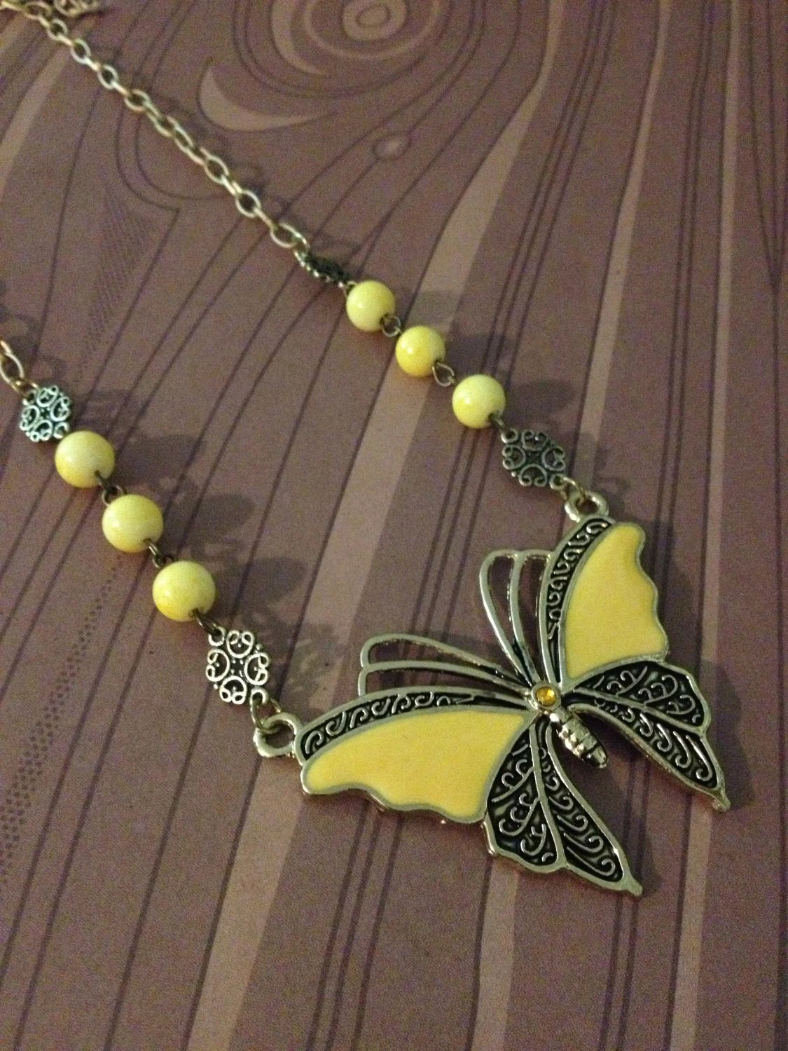 Yellow butterfly Necklace - robotsnappingturtle
