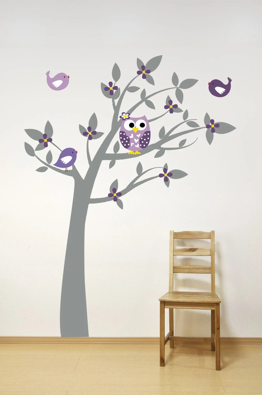 Tree With Owl Birds and Leaves Wall Decal // Playroom Decor