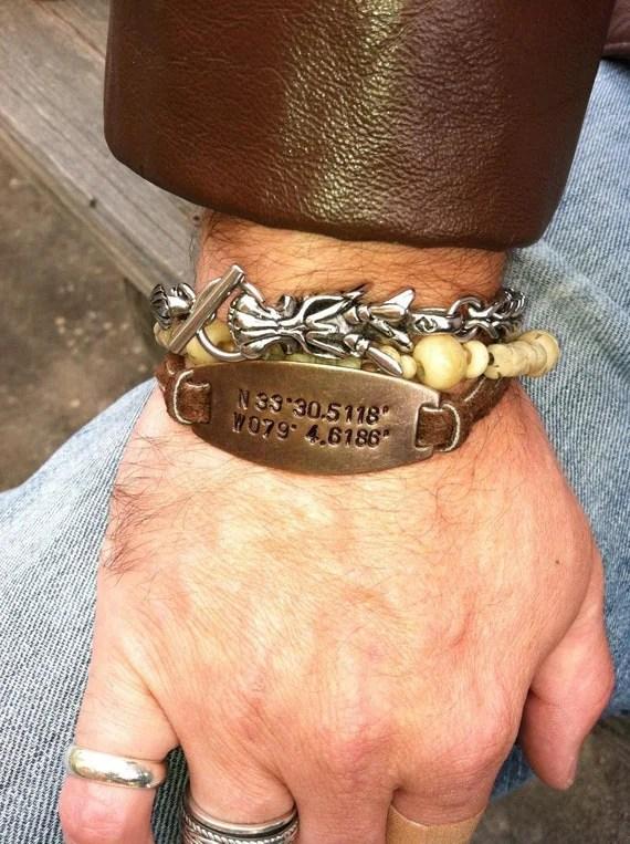 Personalized Bracelet Mens Jewelry GPS Latitude