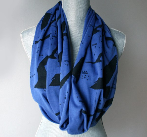 Royal Blue Long Infinity Jersey Scarf with Night by