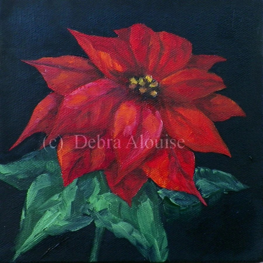 red kitchen table set silverware poinsettia flower original oil painting