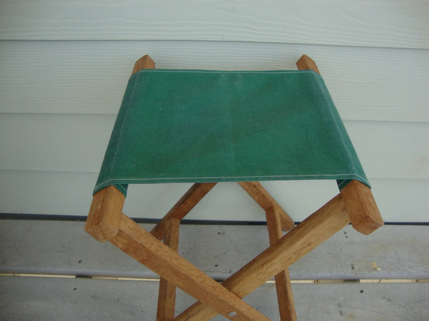 wood camp chair mickey mouse club ethan allen vintage dark green canvas seat by