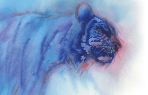 Tiger Original Watercolor Painting Framed Abstract Art