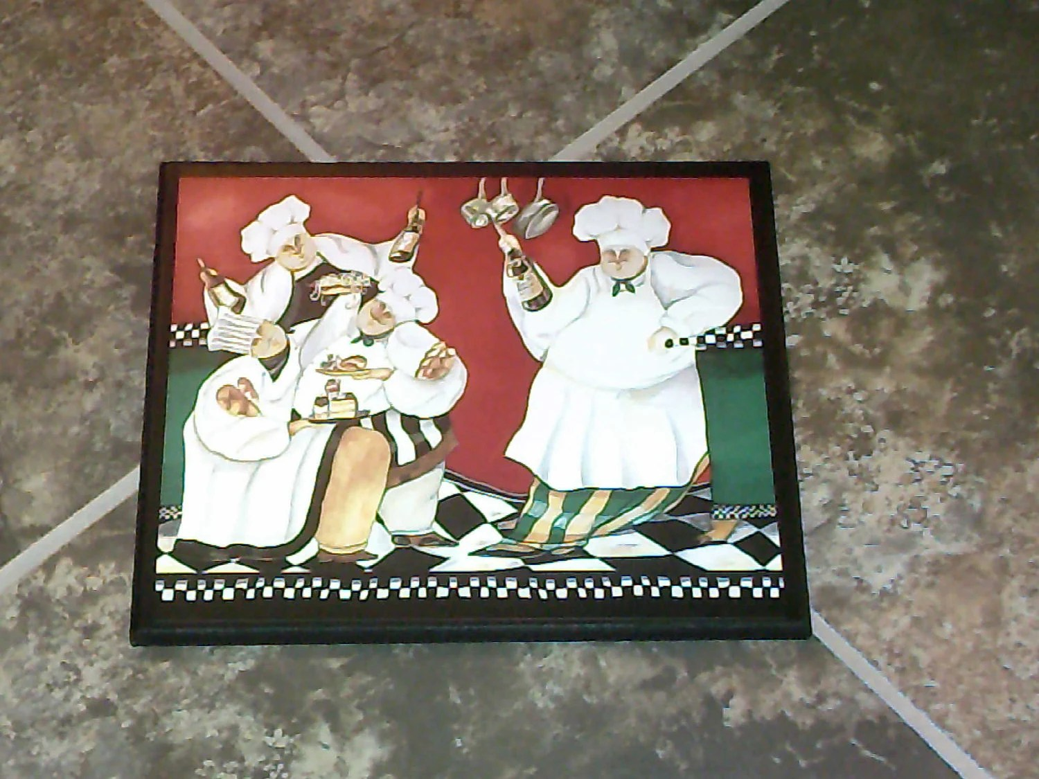 chef wall decor kitchen 42 inch cabinets fat french chefs country plaque wooden