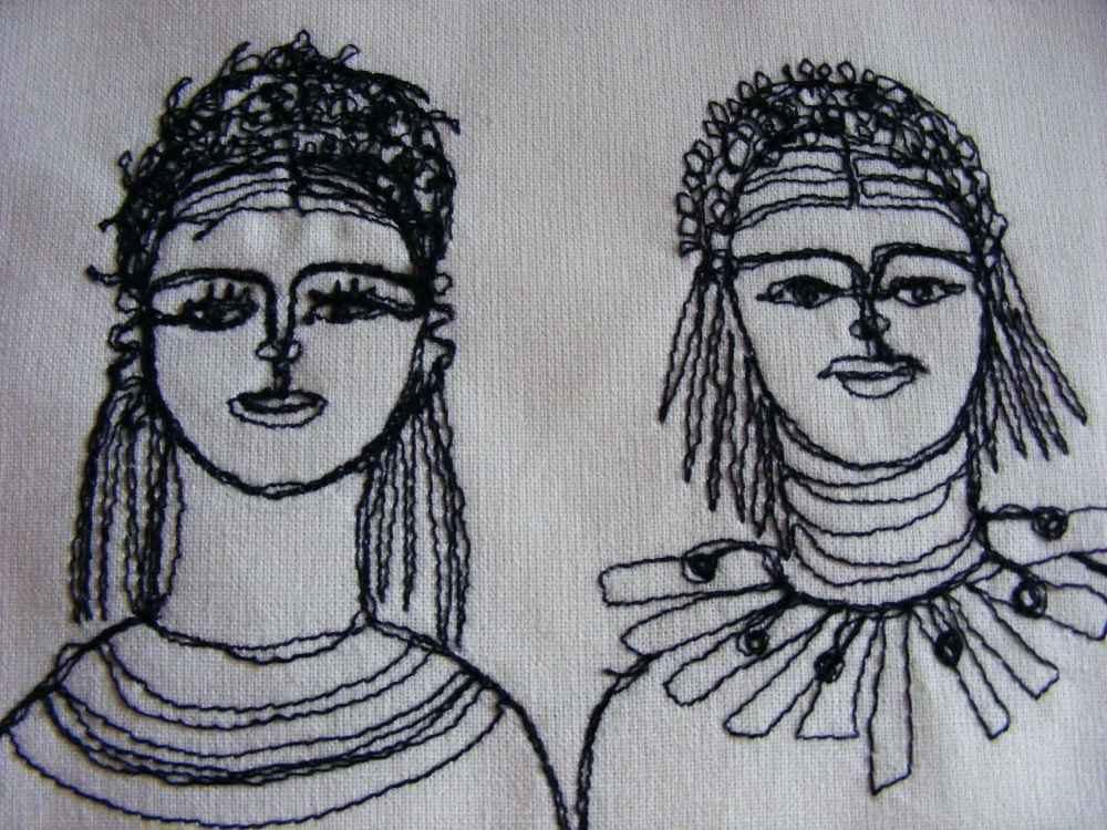 Hey girlfriend - original expressive embroiderd portraits