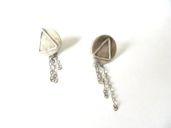 Black Friday-Triangle dangle earrings Sterling silver studs Gift for her - CyKLu