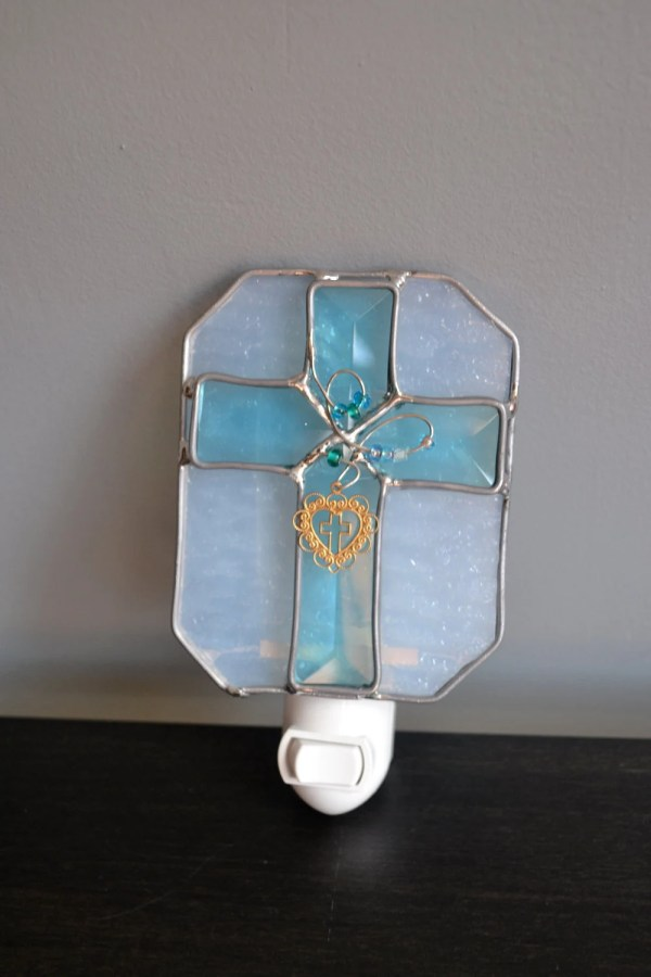 Jesus Loves Stained Glass Night Light
