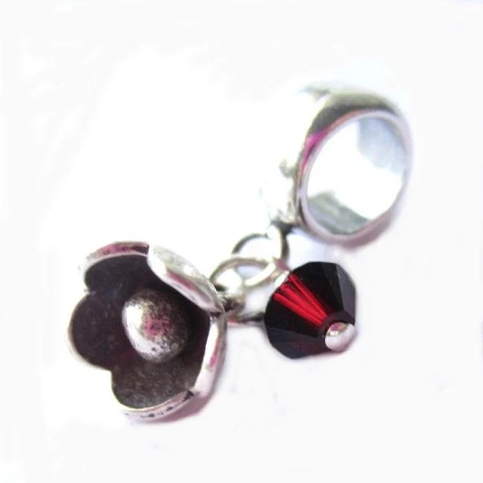 January birthstone charm, European style bracelet charm, garnet crystal and flower - FlauntDesignsJewelry