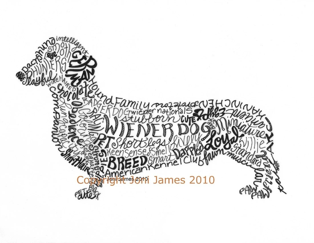 Dachshund Art Print Wiener Dog Art Calligram By Calligramorama