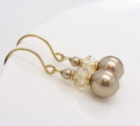 Gold champagne earrings champagne pearl earrings gold pearl