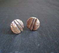 Hammered Copper Stud Earrings Oxidized Copper Studs Disc