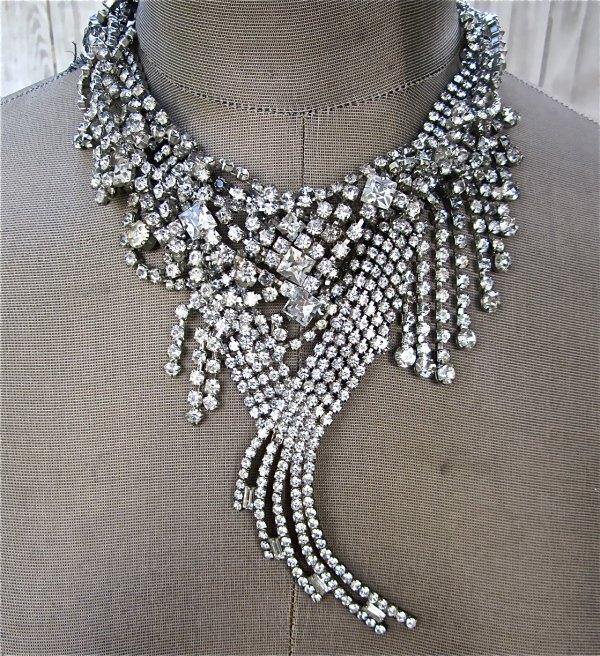 Vintage Rhinestone Wedding Necklace Shaped
