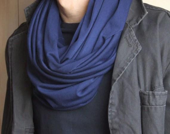MEN Circle Scarf Infinity scarf Loop MONACO BLUE mens scarves