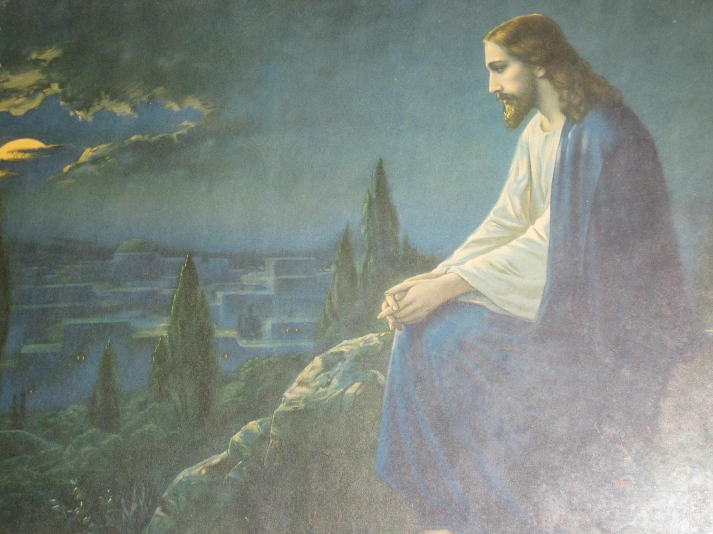 Antique Jesus Picture Garden of Gethsemane Carved Wood Frame